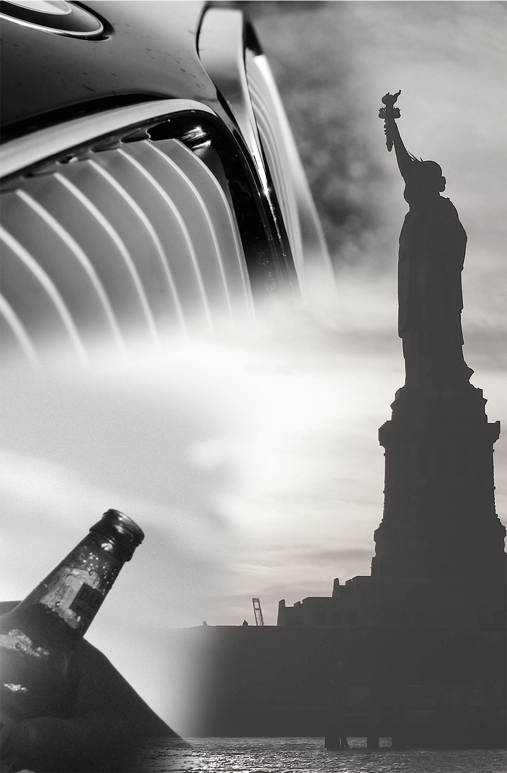 Photo montage of car, Statue of Liberty and hands holding beer bottles