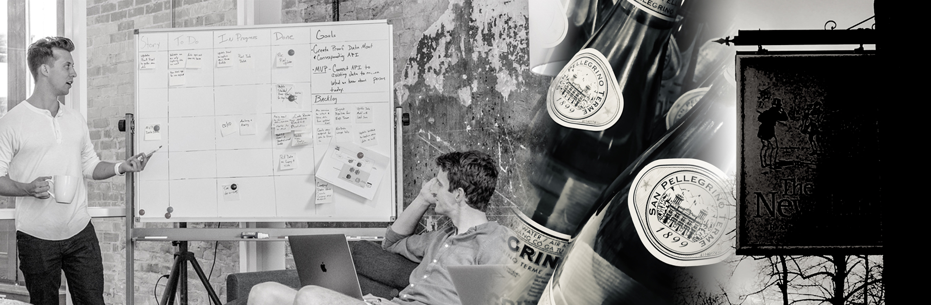 Photo montage image of mineral water, men talking next to white board and pub sign