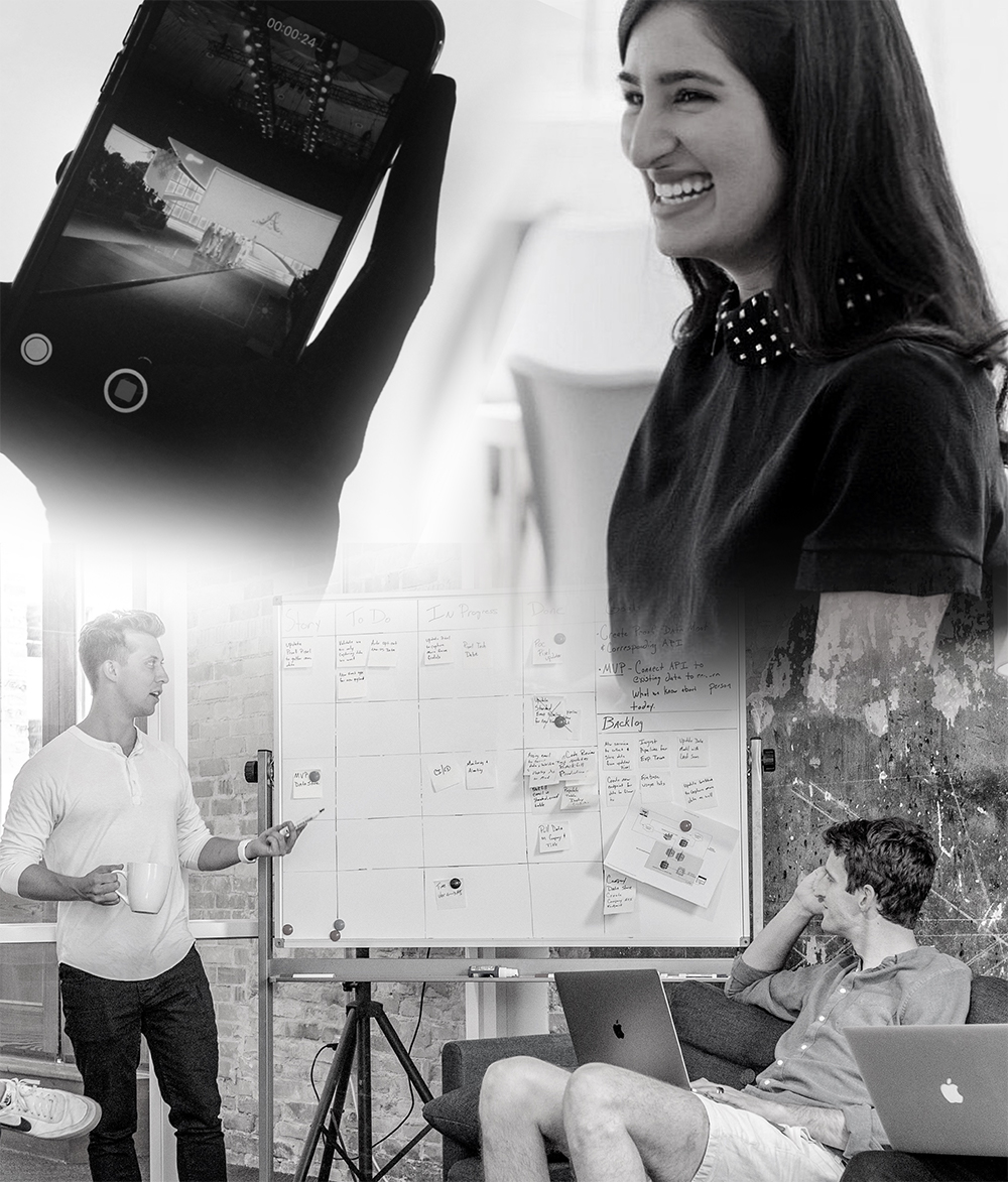 Photo montage of woman, mobile phone and two men looking at a whiteboard